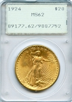 GOLDEN LUSTROUS BRILLIANT UNCIRCULATED 1924 SAINT GAUDENS $20 GOLD COIN  MS62