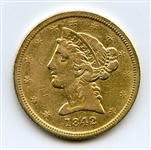 SCARCE LOW MINTAGE 1842 D $5 LIBERTY GOLD COIN