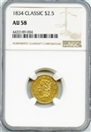 PRESTIGIOUS UPPER END CLASSIC 1834 $2 1/2 GOLD COIN