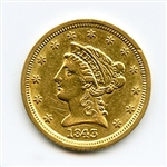 EXTREMELY RARE VERY LOW MINTAGE 1843 LARGE D $2 1/2 GOLD COIN