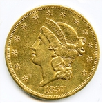 IMPRESSIVE FULLY STRUCK 1857 S $20 LIBERTY GOLD COIN